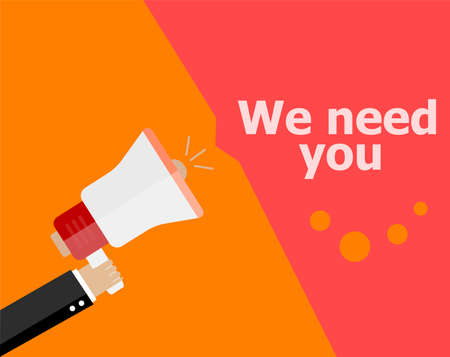 now hiring: flat design business concept. We need you. Digital marketing business man holding megaphone for website and promotion banners.