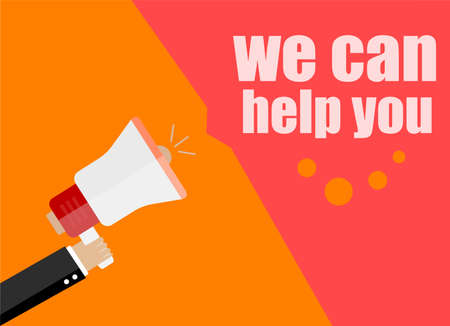 now hiring: flat design business concept. we can help you. Digital marketing business man holding megaphone for website and promotion banners. Stock Photo