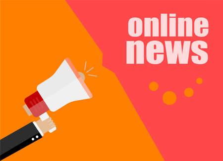 flat design business concept. online news, Digital marketing business man holding megaphone for website and promotion banners.