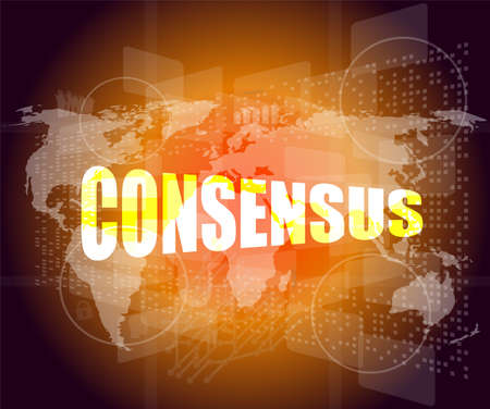 participatory: business concept: word consensus on digital touch screen