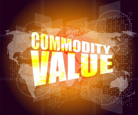 digital asset management: Management concept: commodity value words on digital screen