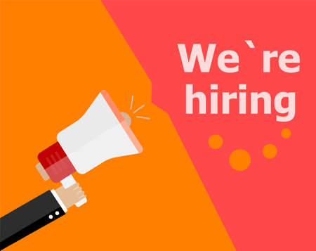 now hiring: flat design business concept. We Are Hiring. Digital marketing business man holding megaphone for website and promotion banners.