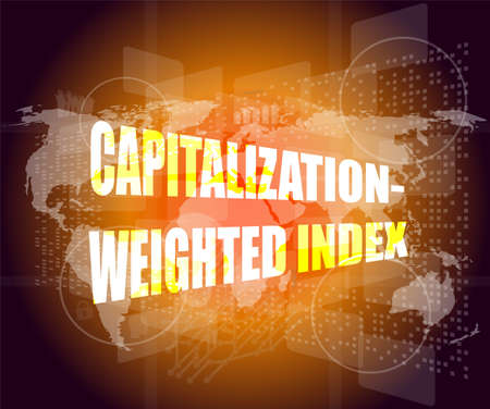 capitalization weighted index words on touch screen interface Stock Photo