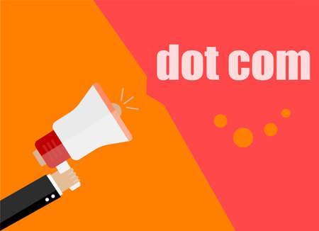 dot com. Flat design business concept Digital marketing business man holding megaphone for website and promotion banners Stock Photo