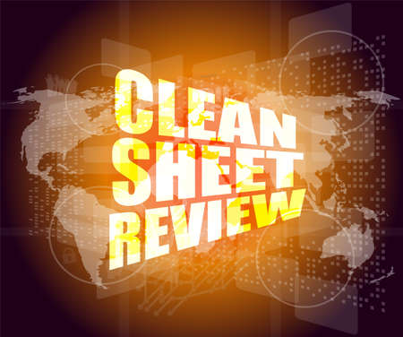 clean sheet review on touch screen, media communication on the internet Stock Photo