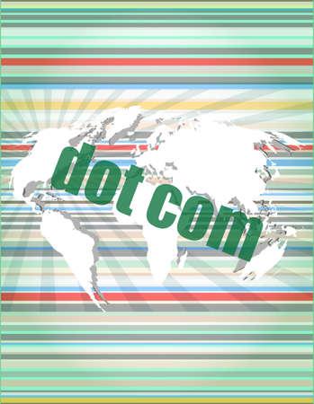 domains: words dot com on digital screen, information technology concept