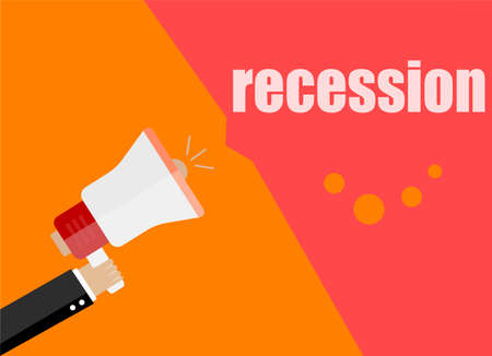 recession. Flat design business concept Digital marketing business man holding megaphone for website and promotion banners Stock Photo