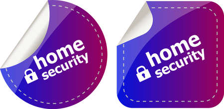 Secure lock sign label isolated on white, home security 版權商用圖片
