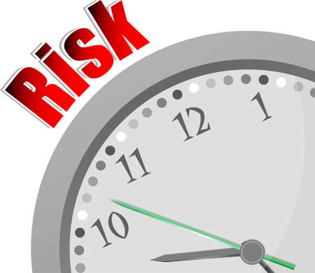 next year: Text Risk. Finance concept . Color word and modern clock on white Stock Photo