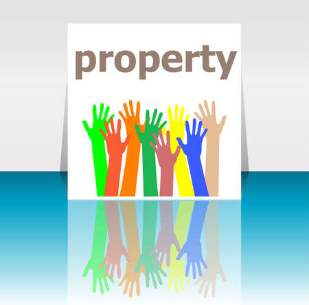 property management: Text Property. Protection concept . Human hands silhouettes Stock Photo