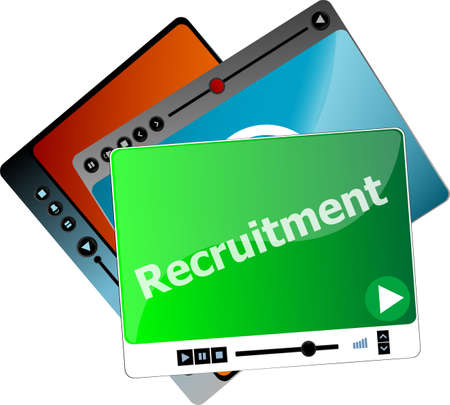 pause button: recruitment. Video media player set for web, minimalistic design