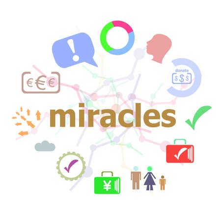 Text Miracles. Business concept . Set of line icons and word typography on background Stock Photo
