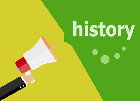 social history: history. Hand holding a megaphone. flat style Stock Photo