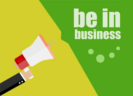 be alert: be in business. Flat design business concept Digital marketing business man holding megaphone for website and promotion banners Stock Photo