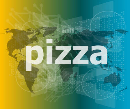 blank screen: pizza, hi-tech background, digital business touch screen