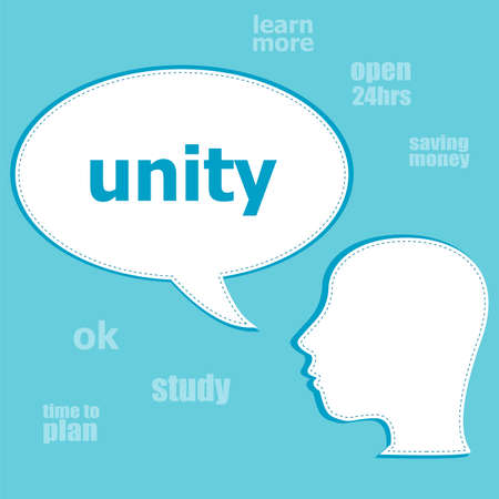 Text Unity. Social concept . Silhouette of a head with speech bubble Stock Photo