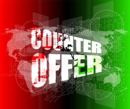 counter offer words on digital screen background with world map Stock Photo