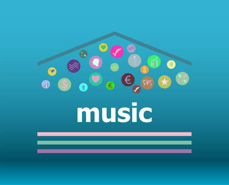 Text Music on digital background. Social concept Stock Photo