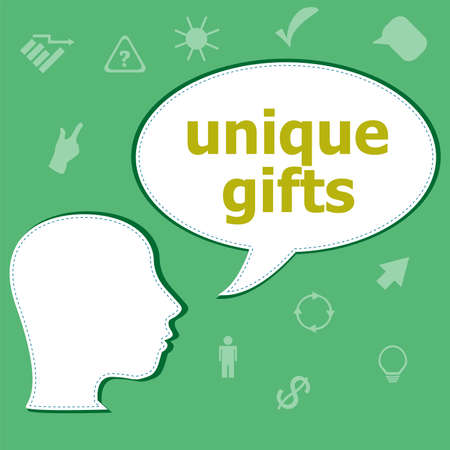 unique gifts text on digital touch screen. social concept . Head with speech bubble