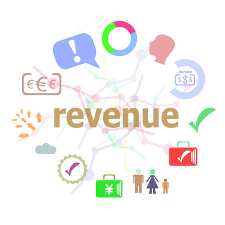 Text Revenue. Business concept . Set of line icons and word typography on background