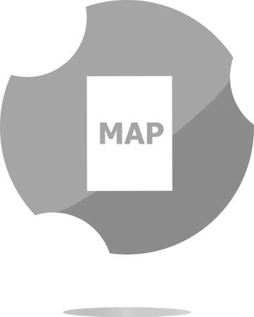 global positioning: map icon web button with map . Trendy flat style sign isolated on white background