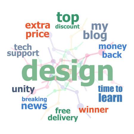 Tekstontwerp. web ontwerpconcept. Word cloud collage. Achtergrond met lijnen en cirkels