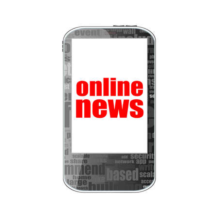 urgent announcement: News concept. smartphone with online mobile news on display. Mobile phone isolated on white Stock Photo