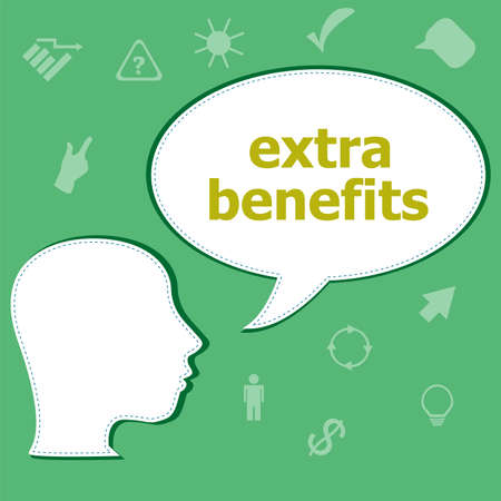 provision: Text Extra Benefits on digital background. Business concept . Head with speech bubble