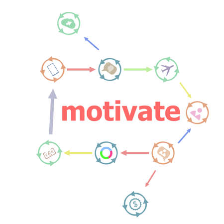 website words: Text Motivate. Business concept . Linear Flat Business buttons. Marketing promotion concept. Win, achieve, promote, time management, contact Stock Photo