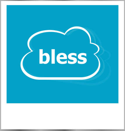 photo album: bless word business concept, photo frame isolated on white Stock Photo