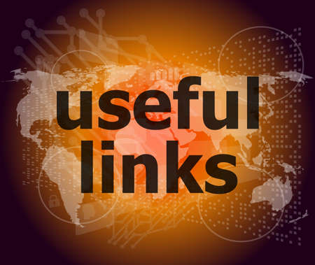 SEO web design concept: useful links on digital background Stock Photo