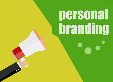 now hiring: flat design business concept. personal branding. Digital marketing business man holding megaphone for website and promotion banners.