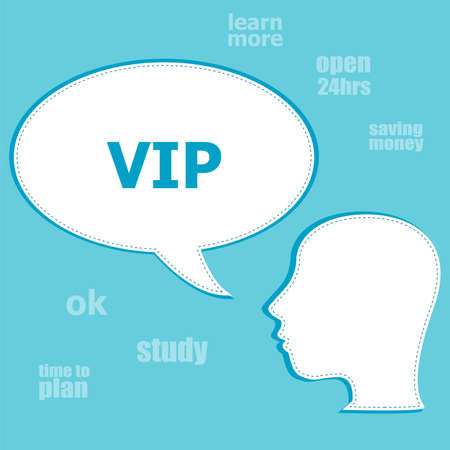 notability: Text Vip. Social concept . Silhouette of a head with speech bubble Stock Photo