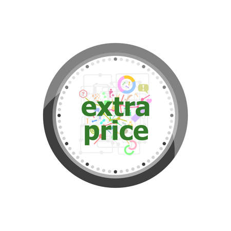 Text Extra Price. Business concept . Set of modern flat design concept icons for internet marketing. Clock isolated on white background Stock Photo