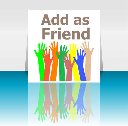 add as friend: Text Add as friend. Social concept . Human hands silhouettes