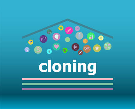 Text Cloning on digital background. Information concept Stock Photo