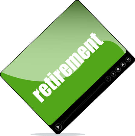 pause button: Video player for web with retirement word Stock Photo