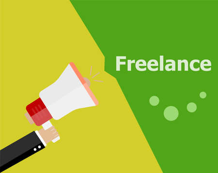 now hiring: flat design business concept. Freelance. Digital marketing business man holding megaphone for website and promotion banners.