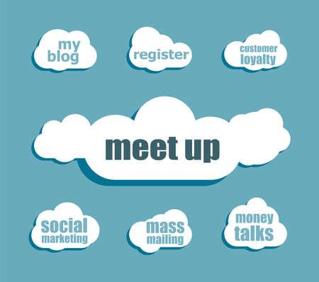 meet up: Text meet up. Business concept . Design with abstract speech bubble set