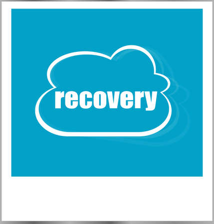 photo album: recovery word business concept, photo frame isolated on white