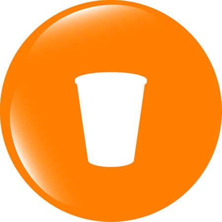 pause button: Coffee cup icon web button . Trendy flat style sign isolated on white background Stock Photo
