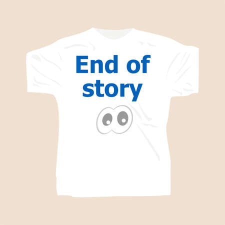 front end: End of Story . Man wearing white blank t-shirt