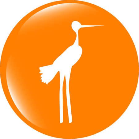 Stork on web icon button isolated on white Stock Photo
