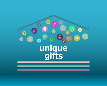 unique gifts text on digital touch screen. social concept