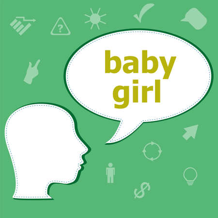 baby girl text on digital touch screen. social concept . Head with speech bubble Stock Photo