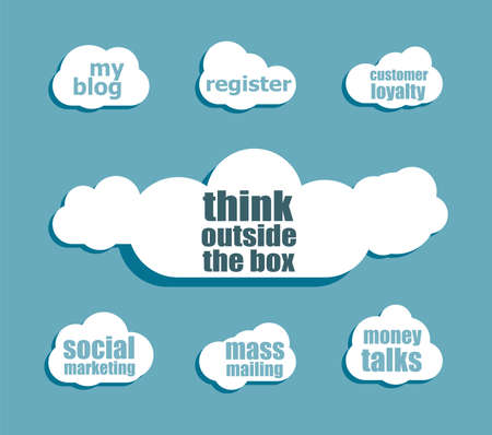 outside the box: Text think outside the box. Education concept . Design with abstract speech bubble set