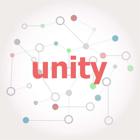 Text Unity. Social concept . Connected lines with dots.