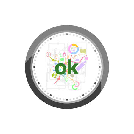 Text Ok. Social concept . Set of modern flat design concept icons for internet marketing. Clock isolated on white background Stock Photo
