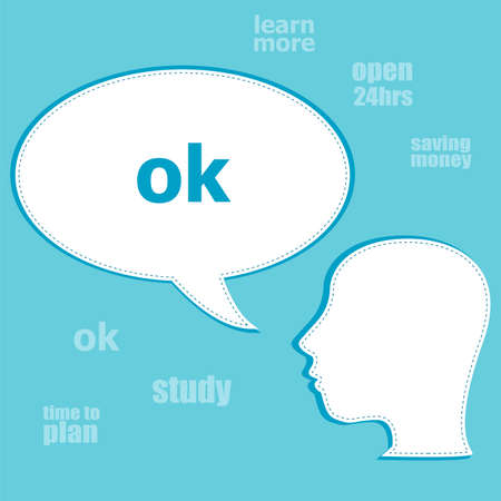 Text Ok. Social concept . Silhouette of a head with speech bubble Stock Photo
