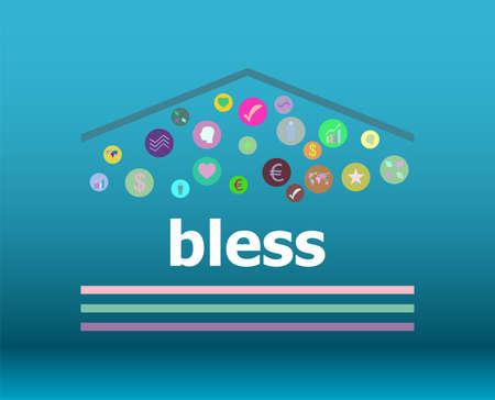 Text Bless. Social concept . Infographic Elements. Design Symbol Stock Photo
